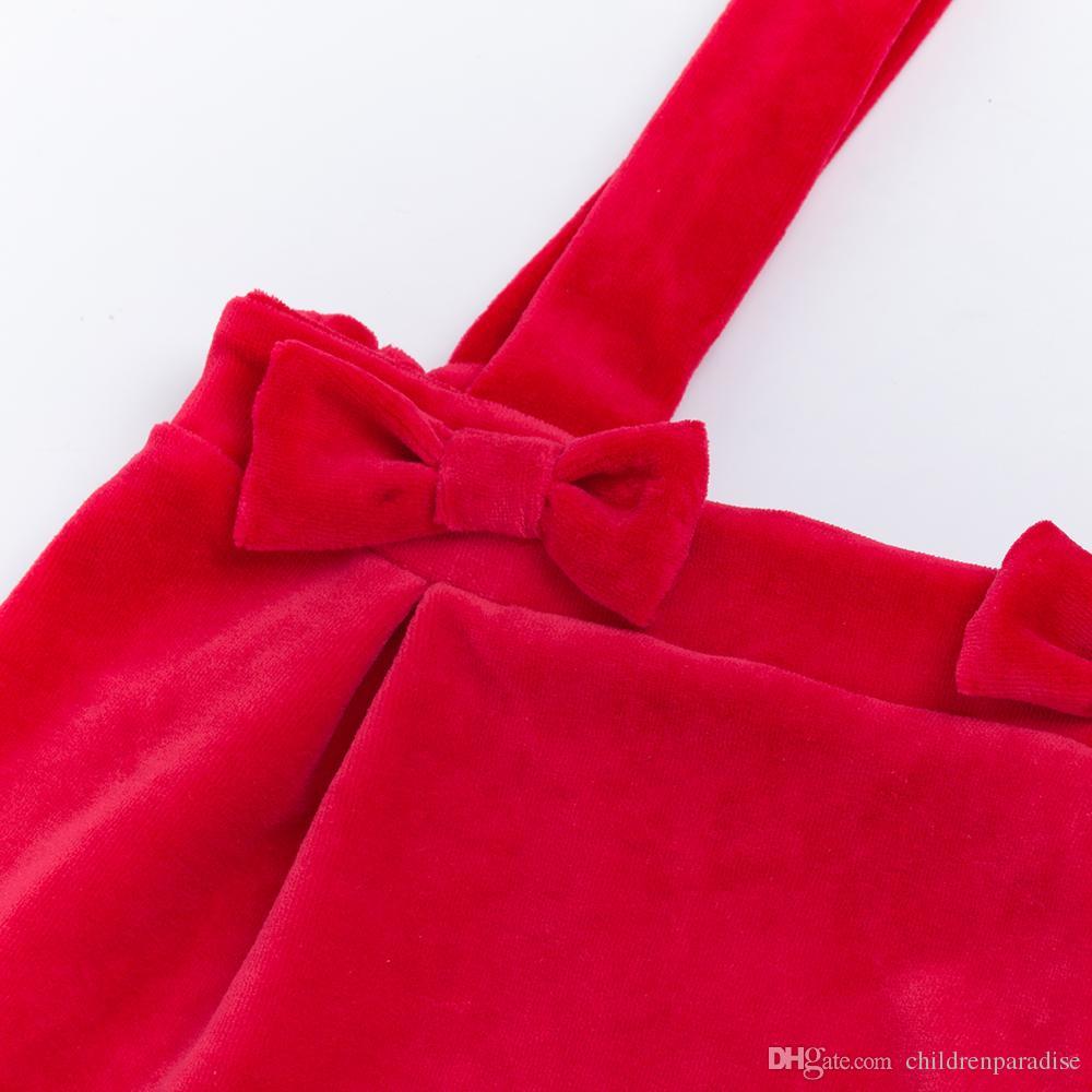 Novas Crianças 2-6 T Conjuntos de Roupas 2018 Outono / Inverno de Algodão de Natal camisas de manga Longa + Saia Suspender Vermelho Roupas de Bebê Ternos