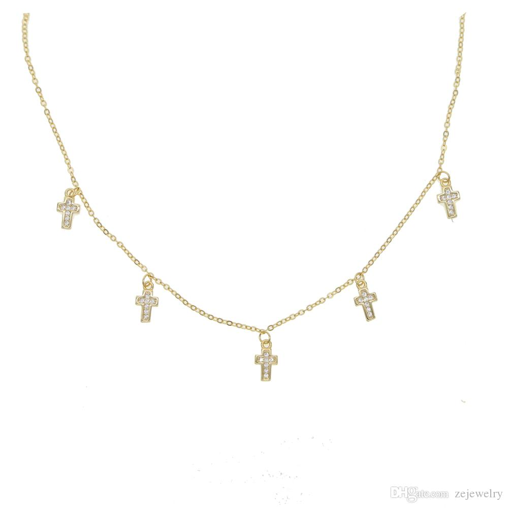 aff3a1cfb4e2 2018 Real 925 Sterling Silver Drop Cross Charm Cz Pendant Choker For ...