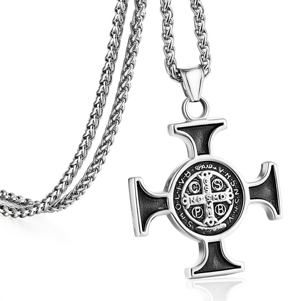 787ebb9505 Acquista 22 In Acciaio Inox Gioielli Donna Uomo Catena A Maglia Collane  Religiose Croce Crocifissi Pendente