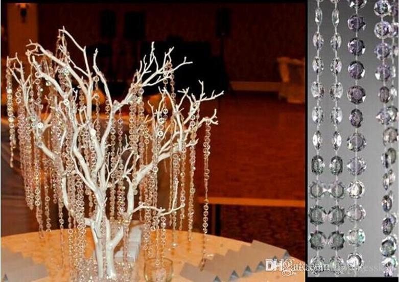 99 piedi / 30 metri Clear Garland Diamond Strand Hanging Crystal Acrilico Bead Curtain Chains Albero del partito Wedding Centerpiece Decor