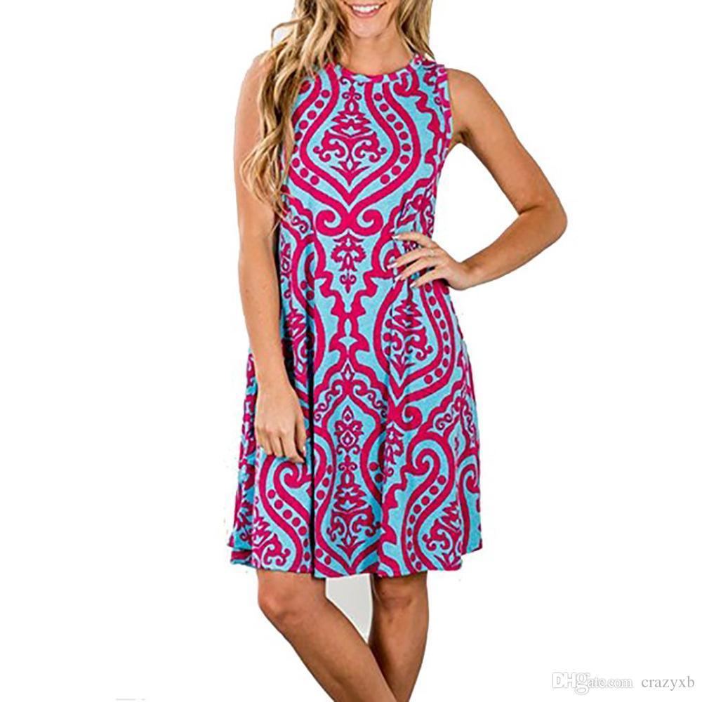 Grosshandel Sommer Damen Kleider 2018 Casual Floral Retro Vintage