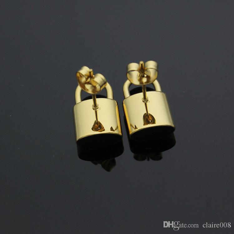 التيتانيوم الصلب L قفل الأذن وأقراط وأقراط وارتفع الذهب وأقراط للمرأة المجوهرات