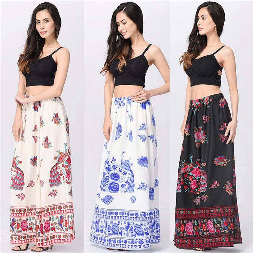 bbdb92d1e2 Women Summer Skirt 2018 New Boho Fashion Elegant Maxi Skirt Beach Floral  Print Holiday Summer High Waist Long  L10 UK 2019 From Volontiers