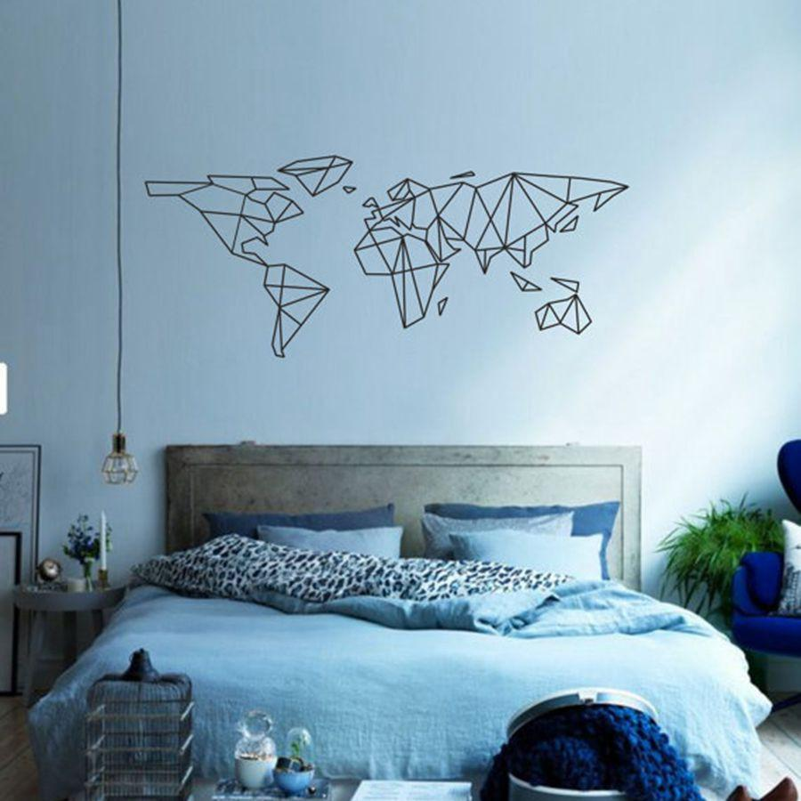Geometric Removable World Map Wall Stickers For Living Room Bedroom