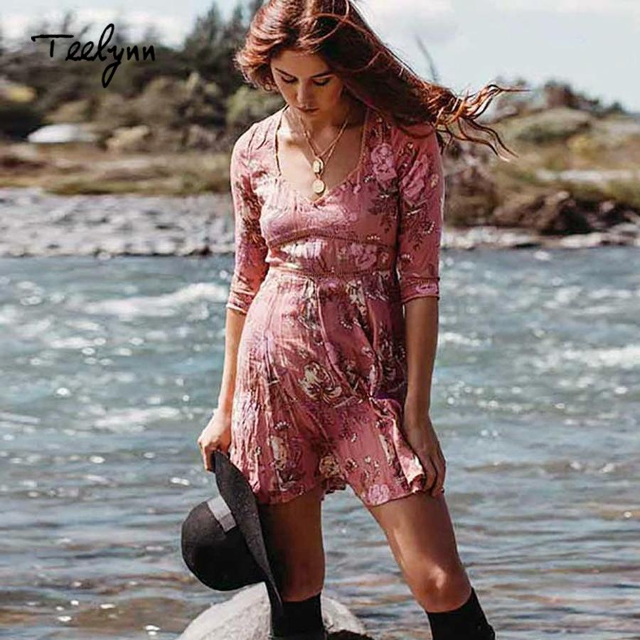 093771f66c75c TEELYNN mini boho dress autumn rayon Floral print women dresses sexy deep  v-neck half sleeve dress Hippie short vestido