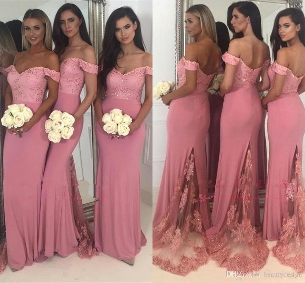 2018 New Off The Shoulder Satin Mermaid Long Bridesmaid Dresses Lace  Applique Beaded Wedding Guest Party Maid Of Honor Dresses BA9882 Pink  Bridesmaids ... 39cdccf40c00