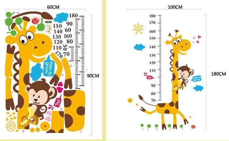 Giraffe Monkey Wall Stickers Sun Cloud Flower Child Growth Charts Wall covering Boys Girls Bedroom Decoration 60X90cm