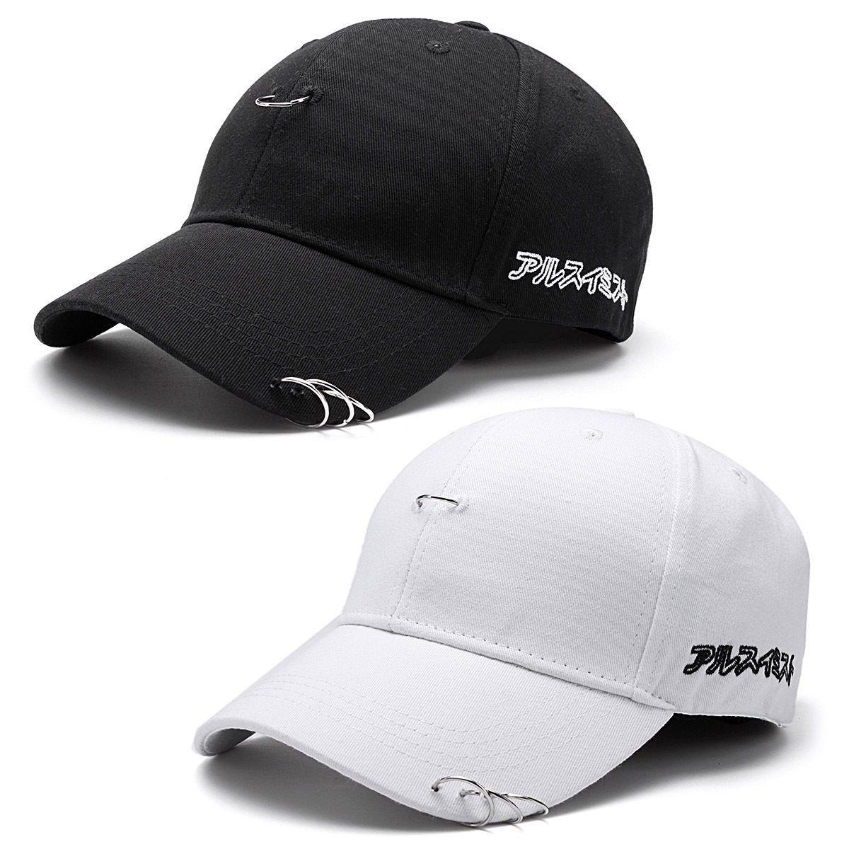93210e0a48d63 Baseball Cap Unisex Solid Ring Safety Pin Curved Hats Baseball Cap Men  Women Snapback Caps Casquette Gorras Baseball Cap Snapback Caps Cap Men  Women Online ...