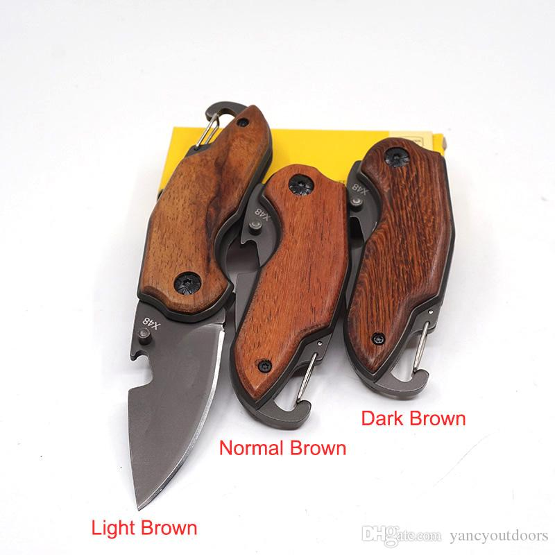 X48 Bolso Faca Dobrável de Acampamento Ao Ar Livre 440 Aço Mini Faca de Sobrevivência Portátil Dobrável Facas de Caça Com Rosewood Handle