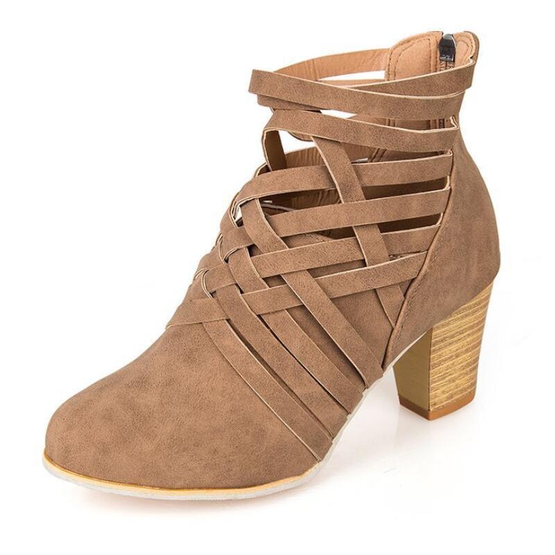 ca73cf29ab Compre AIKE Ásia Todas As Estações Das Mulheres Marca De Moda Sapatos De  Moda Grosso Com Botas De Martin Tecidas Sapatos De Salto Alto Oco Botas  EUR35 43 De ...