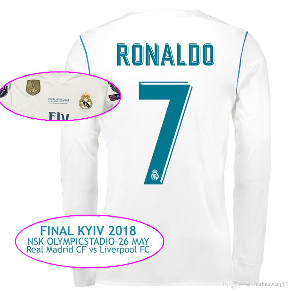 Long Sleeve 2018 Final Madrid Dynamo Final Kyiv 2018 May 26 Home White  Ronaldo Soccer Jerseys Asensio Bale Kroos Isco Football Shirts Morata  Camisetas De ...