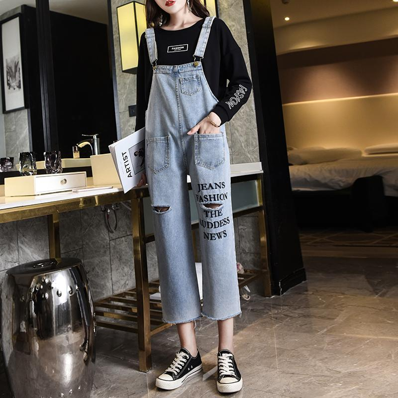 72e782a4e8f2 2019 2018 Women Jeans Jumpsuit Ladies Denim Overalls Fashion Casual Loose  Feet Ripped Embroidery Harem Pants Jeans Spring Autumn New From  Smotthwatch