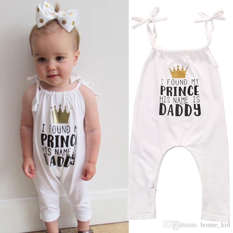99b40b977911 2019 Summer Baby Girls Sleeveless Jumpsuit Crown Letter Print Romper  Onesies Baby Bodysuit Sunsuit Kid Clothing Set 0 24M From Bonne kid