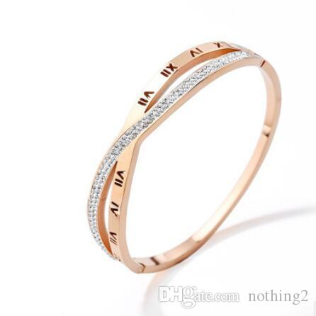 c2775fc33c372 designer jewelry bracelets for women roman letters 18k rose gold plated  bangles hot fashion free of shipping