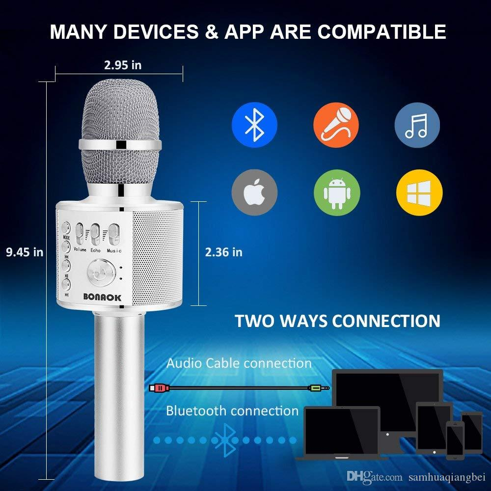 White Bluetooth karaoke microphone, 3-in-1 portable handheld karaoke  microphone family party birthday speaker machine for all mobile phones