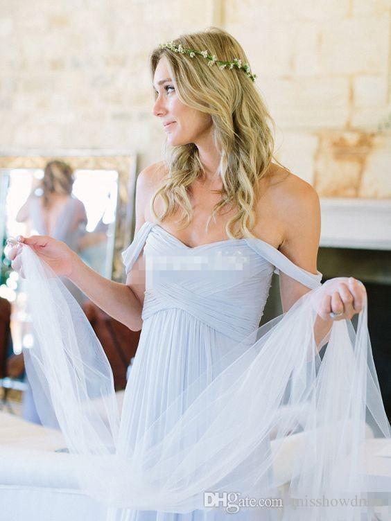 2018 Cheap Light Sky Blue Off-shoulder A-Line Bridesmaid Dresses Draped Beach Amsale Gorgeous Bohemian Plus Size Custom Made Party Gowns