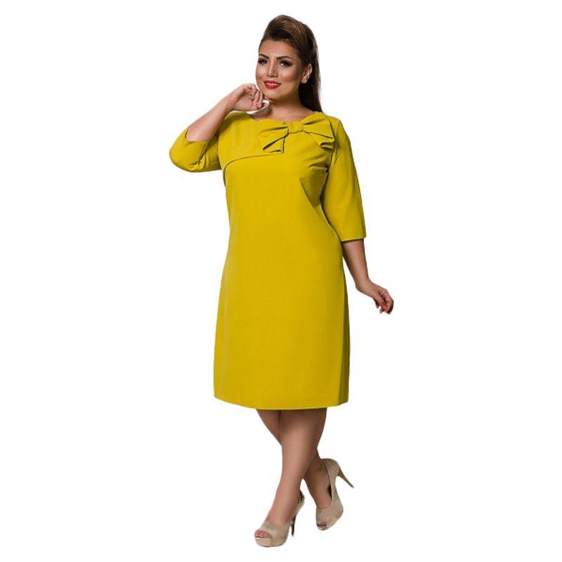 2018new estilo das mulheres plus size vestidos 6xl 5xl 4xl 3xl 2xl xl o-pescoço moda dress 3/4 mangas bowknot vestidos elegantes vermelho verde
