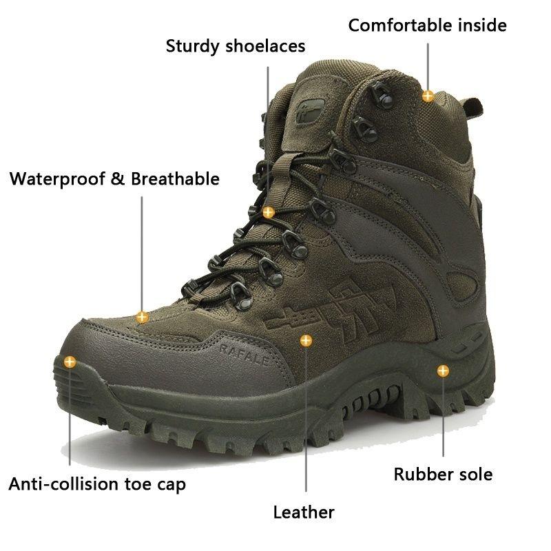 5200406646 Inverno Uomo Tattico militare Stivali in pelle Desert Outdoor Combattimento  Army Boots Scarpe da trekking Viaggi Botas Uomo Stivali da trekking da ...