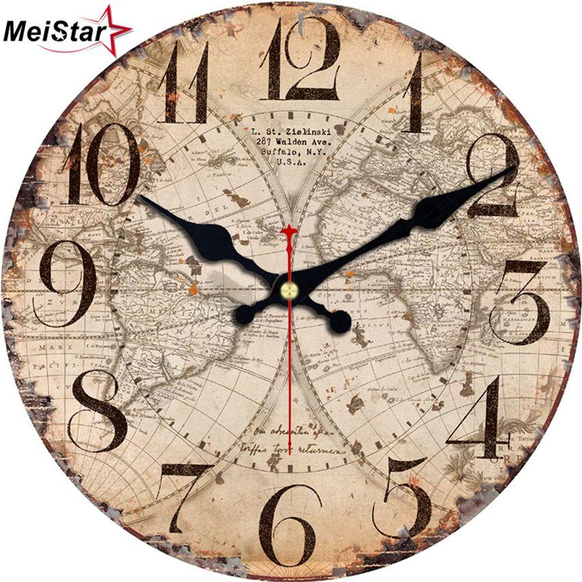50c5066bd81 Compre MEISTAR Relógios Antigos Silencioso Veleiro Design Relógio De  Decoração Para Casa Para Escritório Estudo Cozinha Relógios De Parede De  Arte Grande De ...