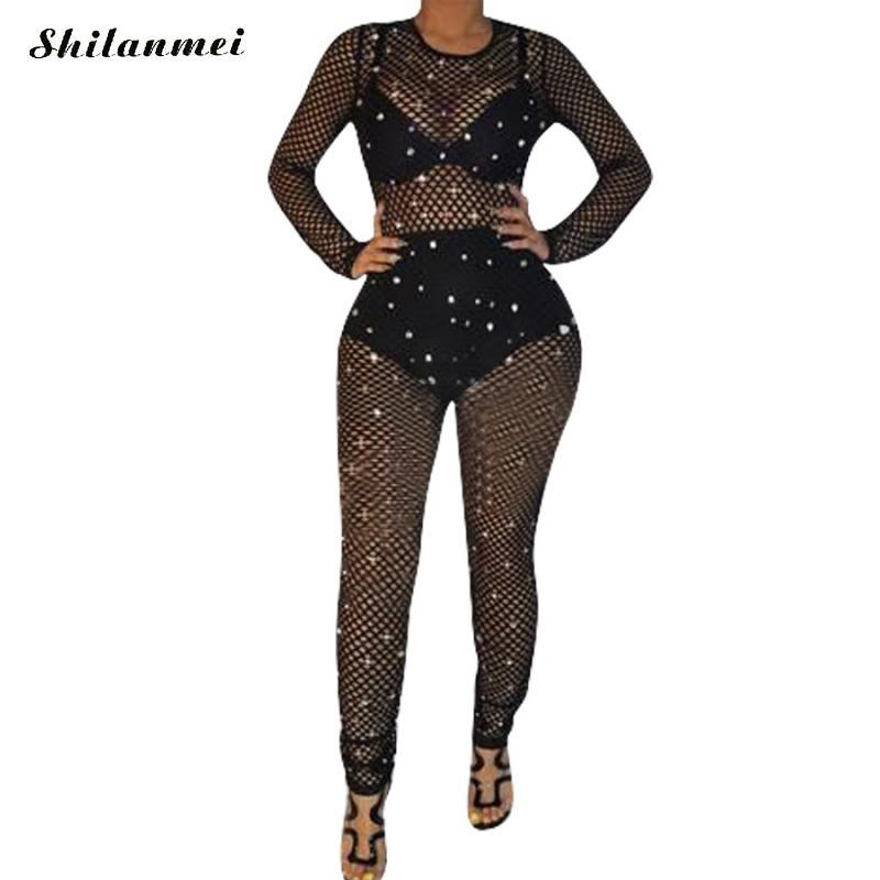 Acheter 2018 Femme Tight Sheer Body Sexy Salopette Night Club Barboteuses  Party Combishort Bodycon Combinaison À Manches Longues Combinaison Noir De   31.61 ... 56dc3a52d59