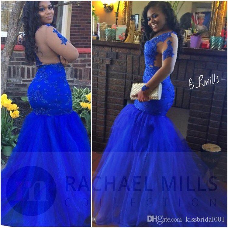 2K17 로얄 블루 아프리카 댄스 파티 드레스 인어 공주 긴 소매 백리스 레이스 이브닝 드레스 섹시한 흑인 여자의 파티 드레스