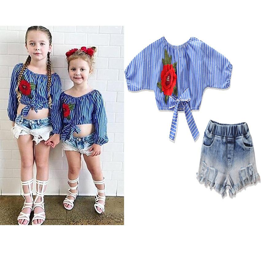 5145d545ece 2019 Summer New Fashion Baby Girls Striped Embroidered Off Shoulder Top + Kids  Denim Shorts Jeans Children Shirt Clothing Sets From Ailerabbit