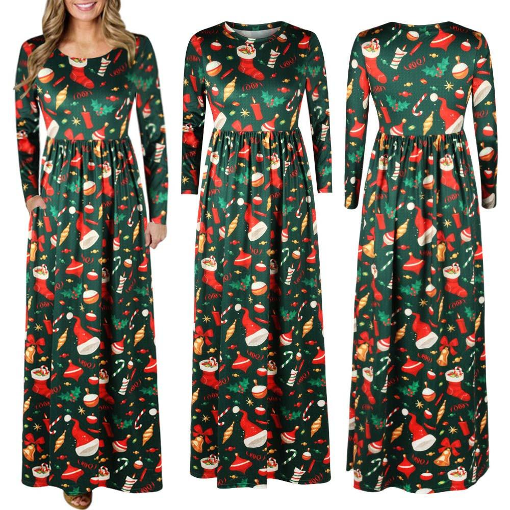2018 women christmas print long sleeve dress ladies evening party long maxi dress 2017 girl lady winter vintage ship from usa from watch2013