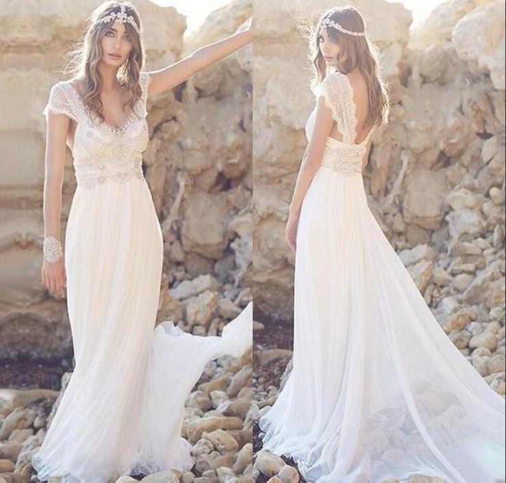Gorgeous Beach Bohemian Wedding Dresses Australia 2018 V Neck ...