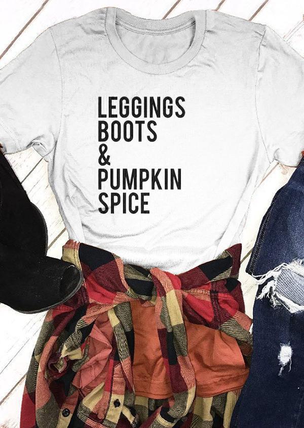 4491019f Women's Tee Leggings Boots & Pumpkin Spice T-shirt Halloween Tops Women  Funny Graphic Tees Girls T Shirt Fashion Clothes Drop Ship