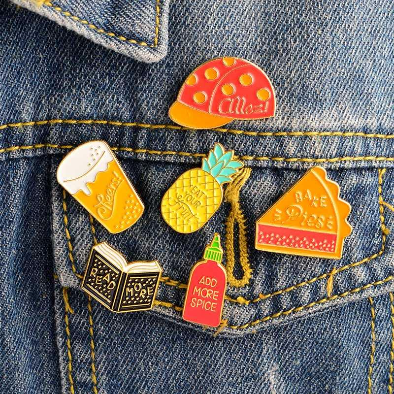 6pcs/set Pineapple Book Pie Beer Spbottle Hat pin set Badges Brooches Hard  enamel pin Backpack Hats Bages Accessories