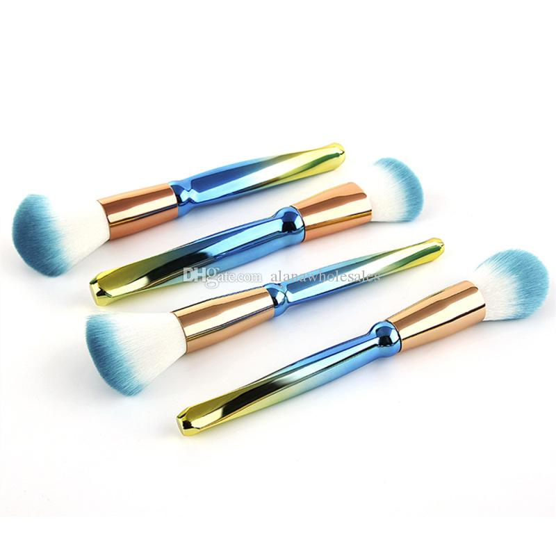 7 adet Makyaj Fırça Seti için Kraliyet mavi Kolu Fırçalar Vakfı Kapatıcı Göz Farı Eyeliner Kozmetik Fırçalar Makyaj Aracı