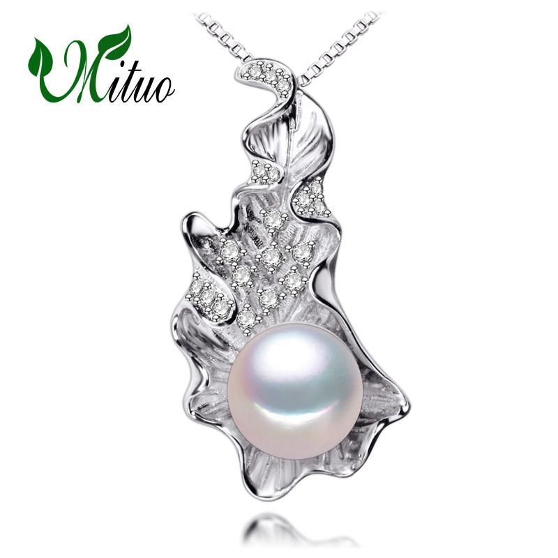 MITUO Multicolor leaf pendants Pearl necklaces pendants 2017 NEW fashion women accessories Wholesale Natural pearl necklace