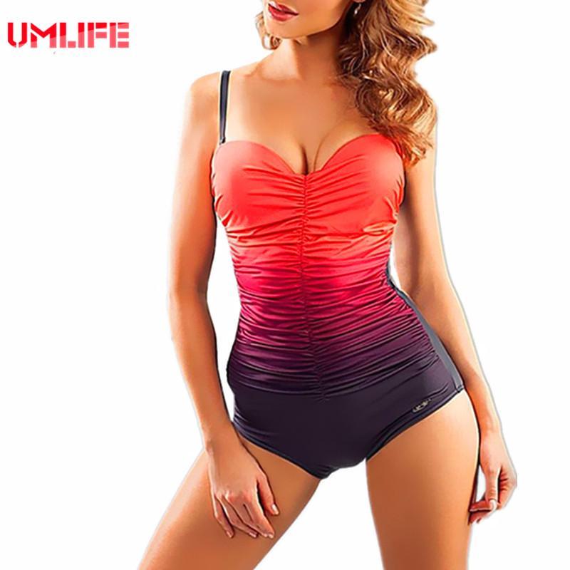 f679828662a 2019 XXL Gradient One Piece Swimsuit Women Plus Size Tankini ...