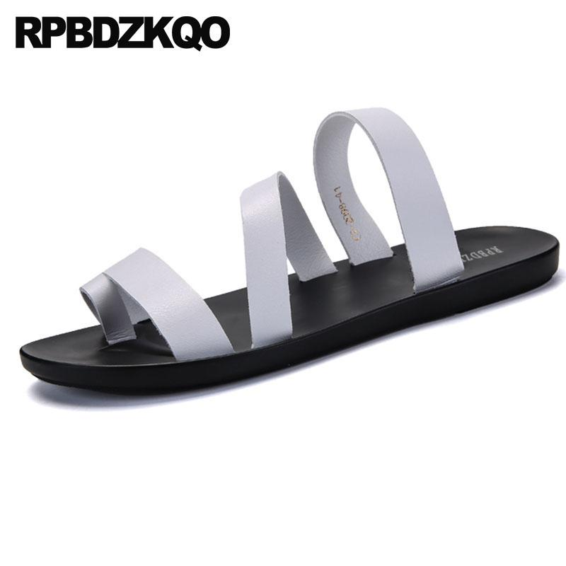df43cb3015a4 Slippers Slip On 2018 Outdoor Slides Leather Men Gladiator Sandals Summer Toe  Loop Flat Fashion Roman Strap Soft Shoes White Knee High Gladiator Sandals  ...