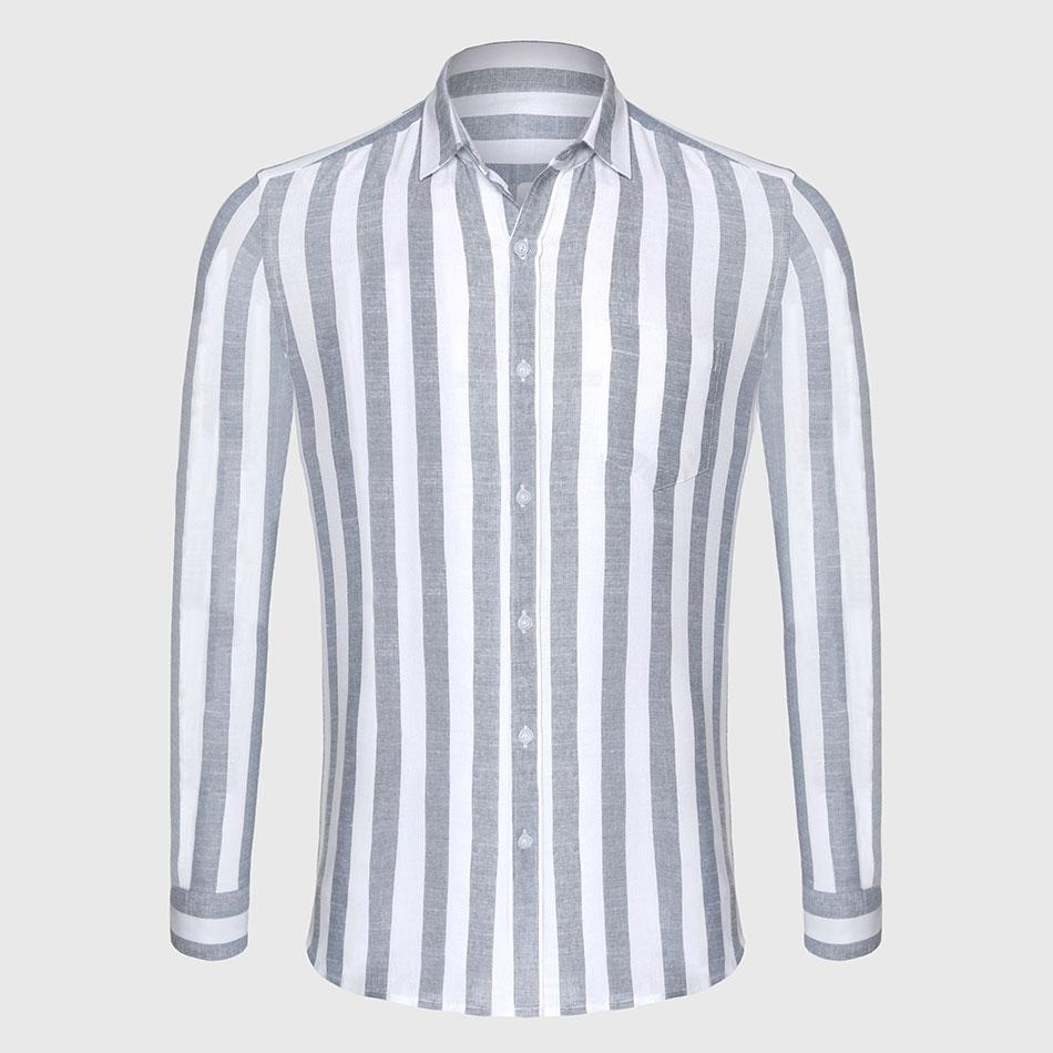 736e579c95b9f Zecmos Stripe Cotton Linen Casual Shirt Men Striped Shirt Linen Male Slim  Fit Men Shirt Long Sleeve Social Business