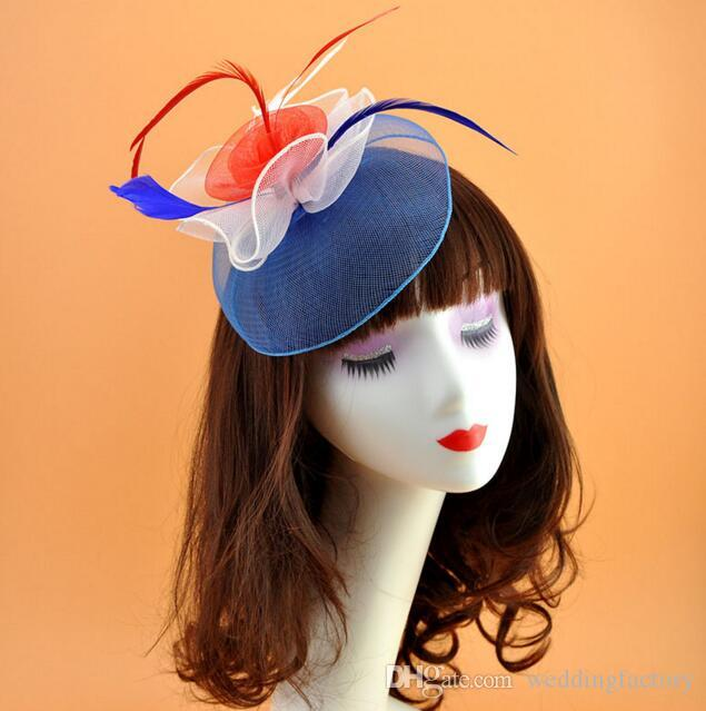 944c8806874c72 Red White Blue Colorful Formal Bridal Hats Tulle Flowers Little Cap Wedding  Party Mini Hat With Pin Black And White Wedding Hats Blue Wedding Hat From  ...