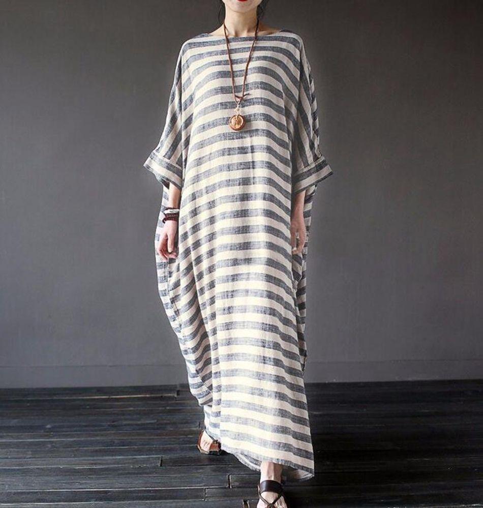 474406dd47cd Women Batwing Sleeve Stripe Loose Oversize Long Maxi Dress Kaftan Tops Cotton  Linen Robe Dresses OOA4158 White Lace Dress Casual Green Dresses For Teens  ...