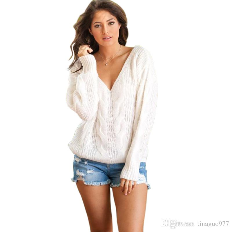 b99cbc4b696a 2019 Cable Women Sweaters Knit V Neck Pullover Womens Sweaters White Black  Gray Casual Ladies Jumpers S XL From Tinaguo977