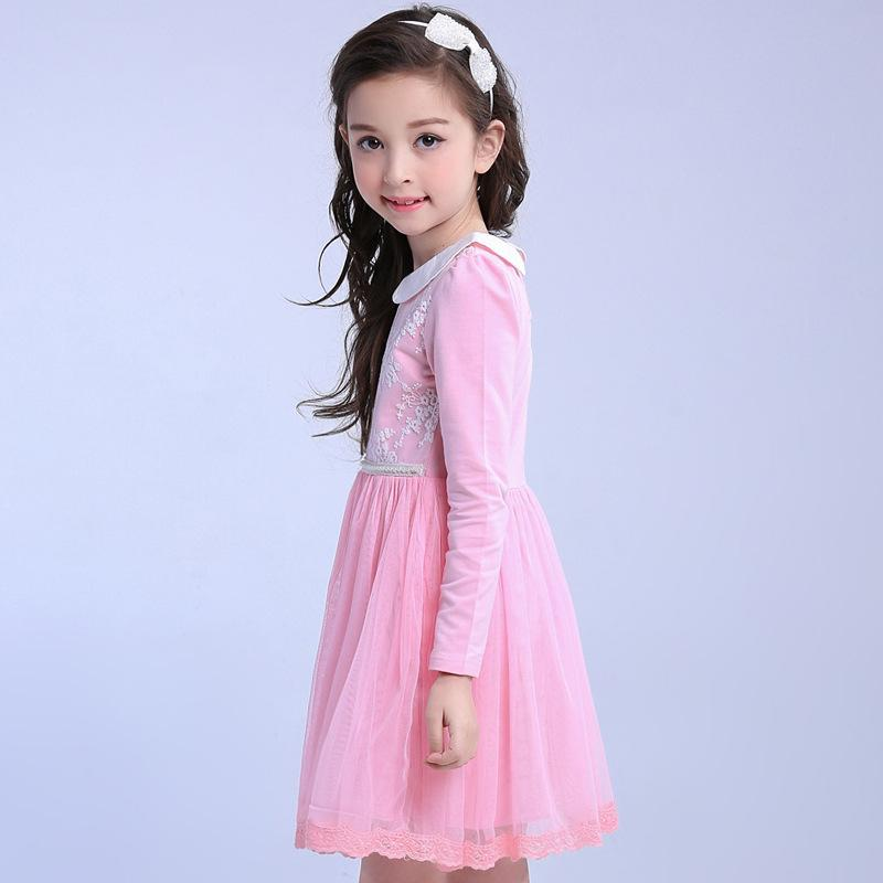 Pink Blue Princess Dress For Girls 4 6 8 10 12 years Old Long Sleeve Clothes Vestido De Menina Spring Summer Kids Cotton Dresses