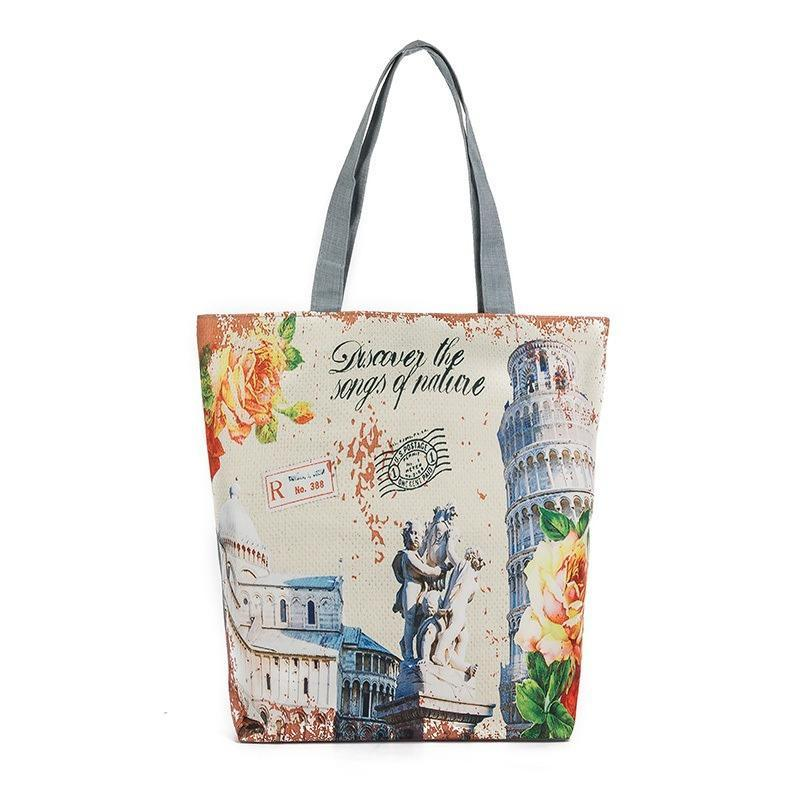 df777b4afb96 Fashion Female Shoulder Bags Leaning Tower Print Women Handbags Canvas  Shopping Bags Vintage Style Women Totes Wholesale UK 2019 From Yoyoob