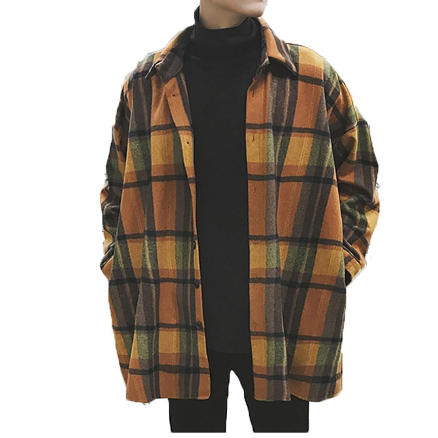 7d09ec0be 2019 Oversized Flannel Vintage Shirt Men Plaid Long Sleeve Check Shirts For Men  Loose Button Up Shirt Casual Streetwear 6c027 From Keviny, $49.95 | DHgate.
