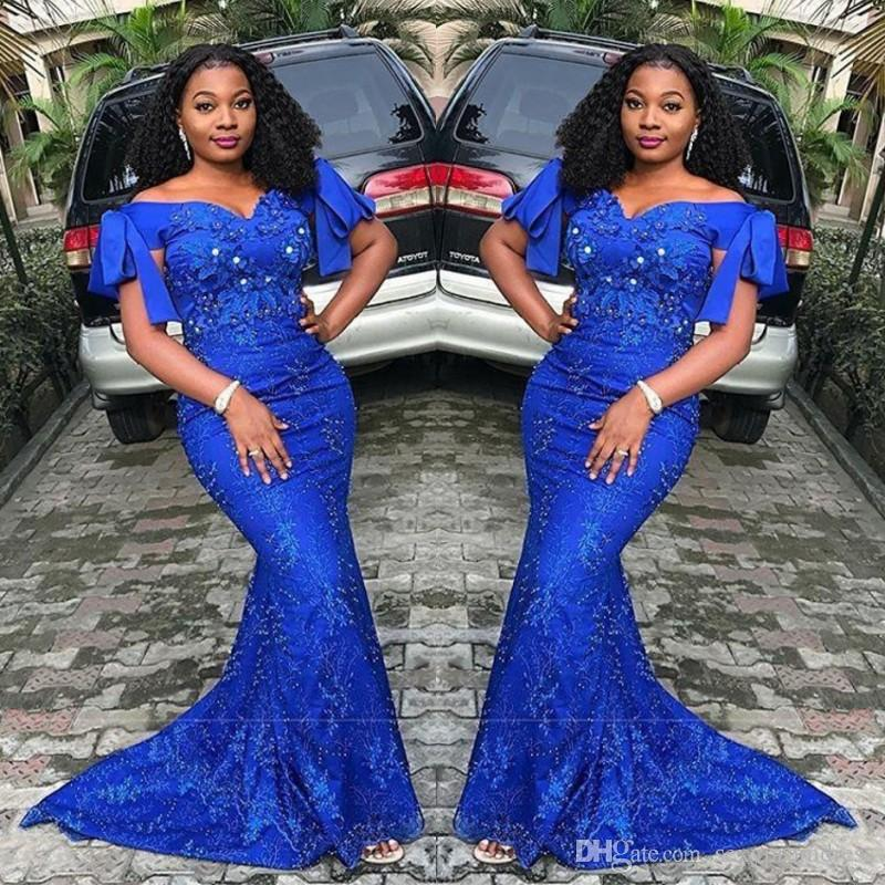 Royal Blue Mermaid Prom Dresses Plus Size Off Shoulder Lace Appliques  Evening Gowns South African Sweep Train Formal Party Dress
