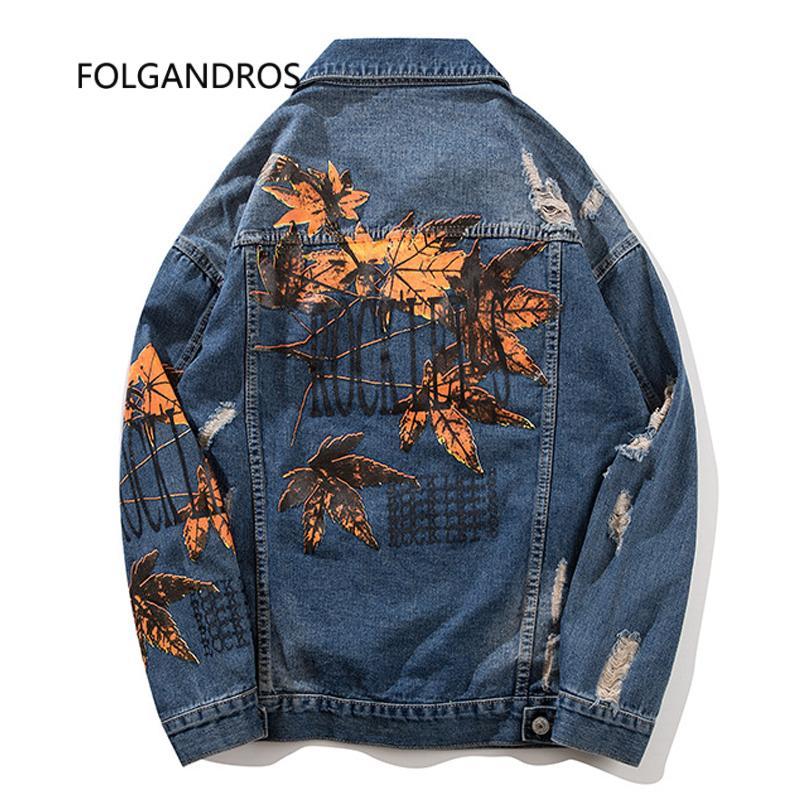 Großhandel Hip Hop Lose Ahorn Leprint Denim Jacke Männer 2018 Hohe Qualität  Loch Druck Blätter Jeans Mantel Für Jungen Herbst Kleidung J0242 Von  Maluokui, ... ead62dde18