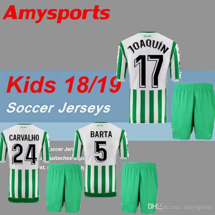 2019 Kids Kit 2018 2019 Real Betis Home Joaquin Soccer Jerseys Boudebouz Mandi Barta Tello Carvalho William Jersey 18 19 Boys Football Shirts From Amysports 15 74 Dhgate Com