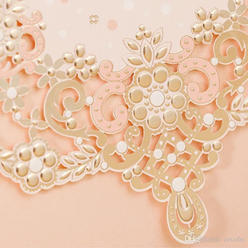 Wishmade Glittery Lazer Kesim Ile Düğün Davetiyeleri Kartları Kiti Dantel Tasarım Nişan Doğum Günü Partisi Gelin Duş için Flora Nişan