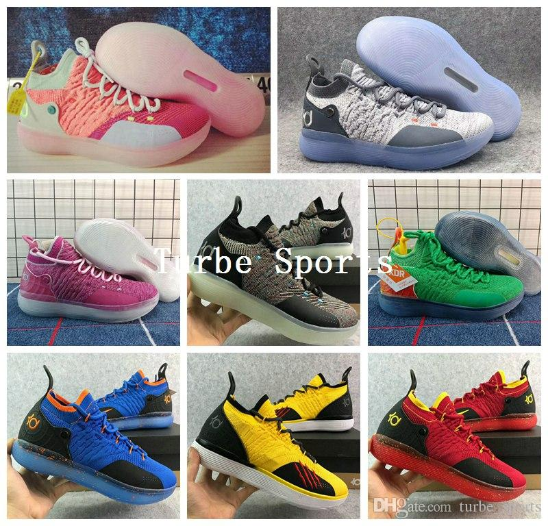 21bd87c415e ... inexpensive 2018 kd 11 cool grey eybl multicolor mens basketball shoes  playoff sports bruce lee oreo