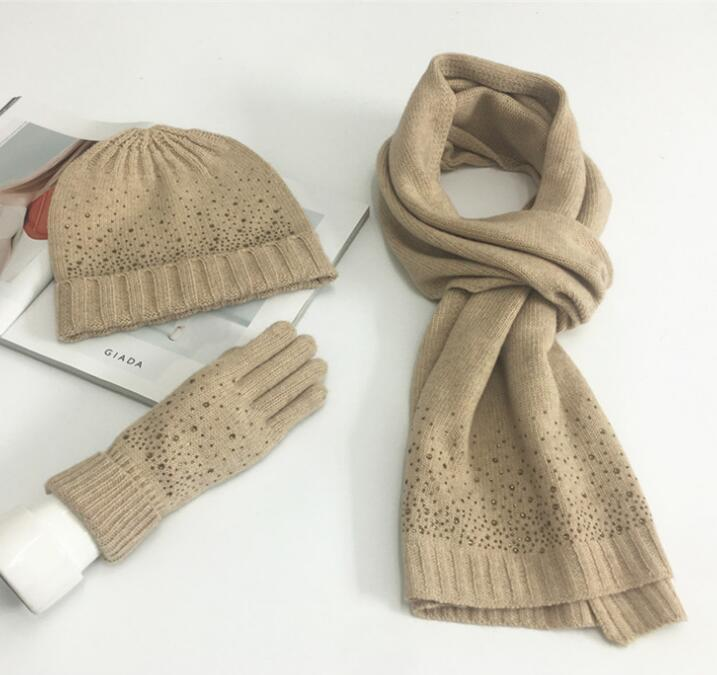 2019 2018 Girl Knitted Beanie Hat Scarf Gloves Set Warm Chunky Thick  Stretchy Women Winter Wool Set Scarves Gorros Gifts From Playnice f6c8180dc22