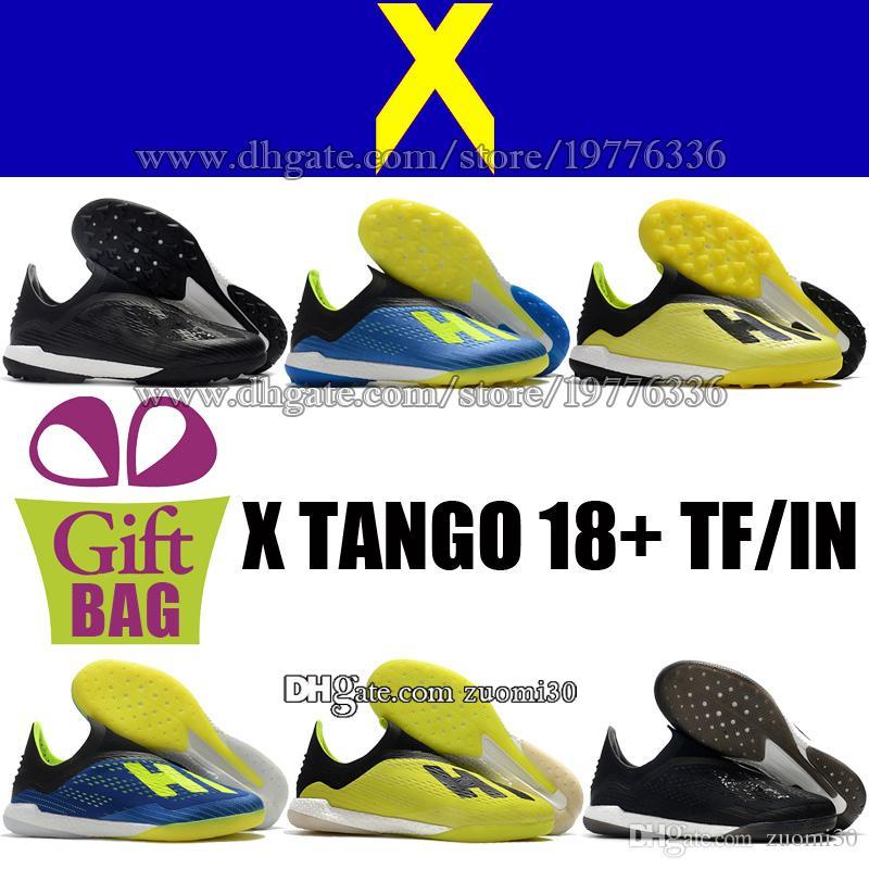 7a2872e7d3 Compre Original Novo Laceless X Tango 18 IN TF Sapatos De Futebol Para  Homens Botas De Futebol De Relva Preto Azul Verde Botas De Futebol X  Chuteiras De ...