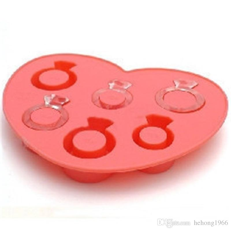 Ice Tray Love Ring Shape Mould Kitchen Cream Tools Mold Diamond Making Box Silicone Pink Creative 3 1cm V