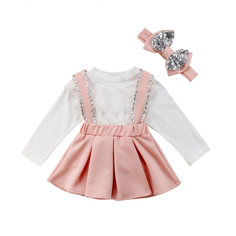 1fe8367f767a 2019 Summer Toddler Kids Girls Clothes Set White Lace Long Sleeve ...